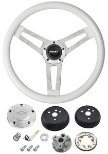 1964-65 El Camino Steering Wheels, Classic Series White Wheel w/Polished Billet Cap