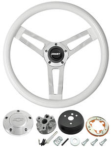 1967-68 El Camino Steering Wheels, Classic Series White Wheel w/Polished Billet Cap