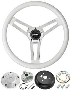 1969-77 Chevelle Steering Wheels, Classic Series White Wheel w/Polished Billet Cap, by Grant
