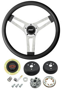1964-65 Chevelle Steering Wheels, Classic Series Black Wheel w/Red Bowtie Cap