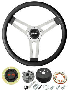 1966 Chevelle Steering Wheels, Classic Series Black Wheel w/Red Bowtie Cap