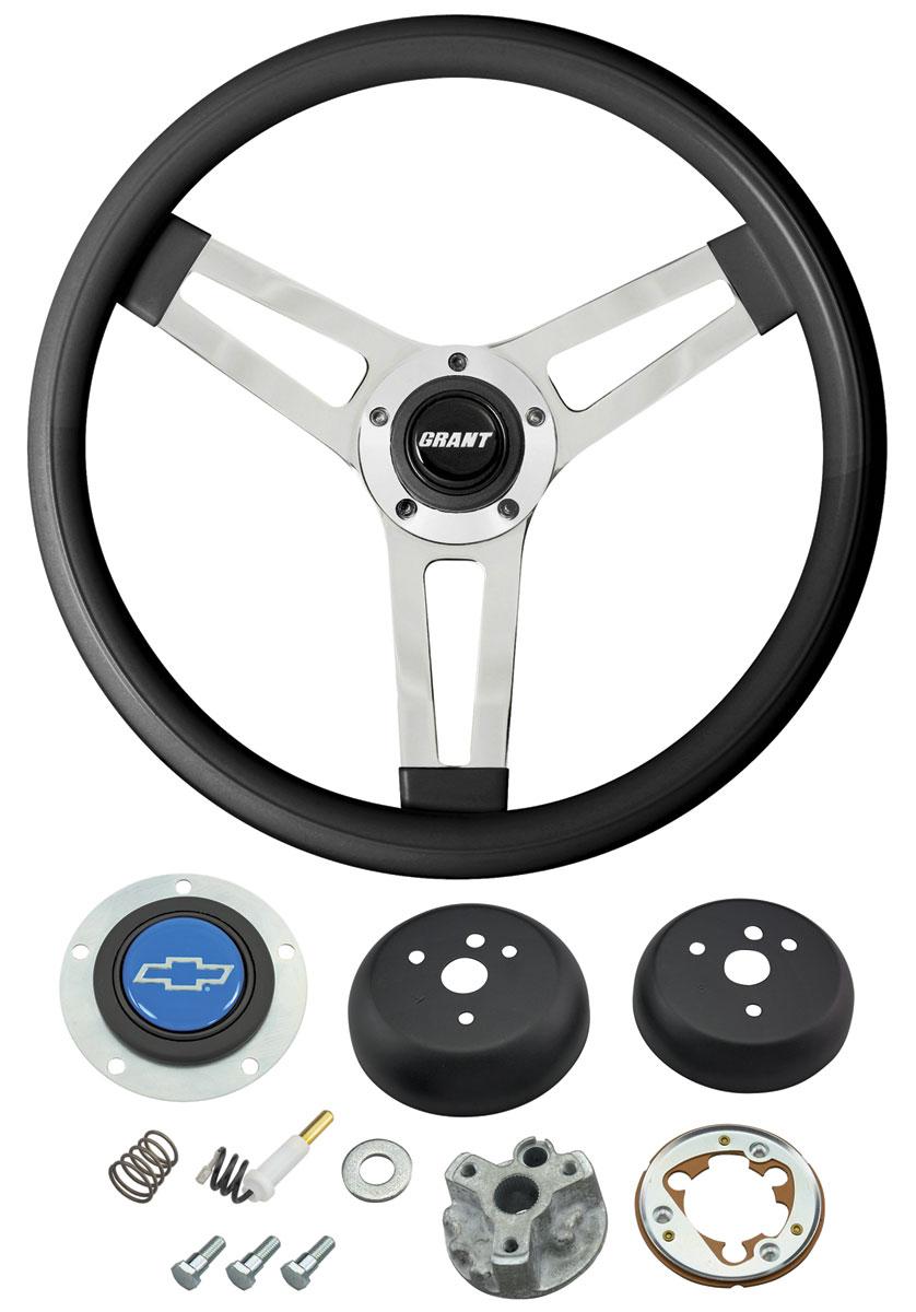 Photo of Steering Wheels, Classic Series Black Wheel w/blue Bowtie cap