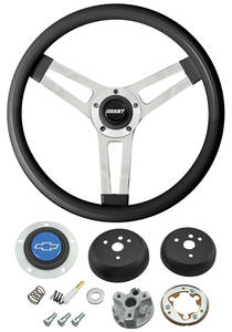 1964-65 Chevelle Steering Wheels, Classic Series Black Wheel w/Blue Bowtie Cap