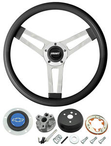 1966 El Camino Steering Wheels, Classic Series Black Wheel w/Blue Bowtie Cap
