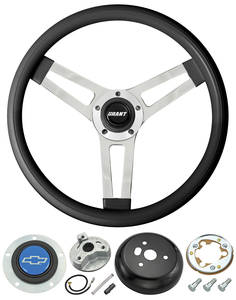 1969-77 Chevelle Steering Wheels, Classic Series Black Wheel w/Blue Bowtie Cap