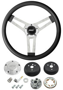 1964-65 Chevelle Steering Wheels, Classic Series Black Wheel w/Polished Billet Cap