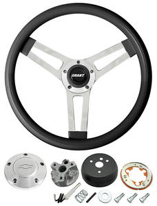 1966 Chevelle Steering Wheels, Classic Series Black Wheel w/Polished Billet Cap