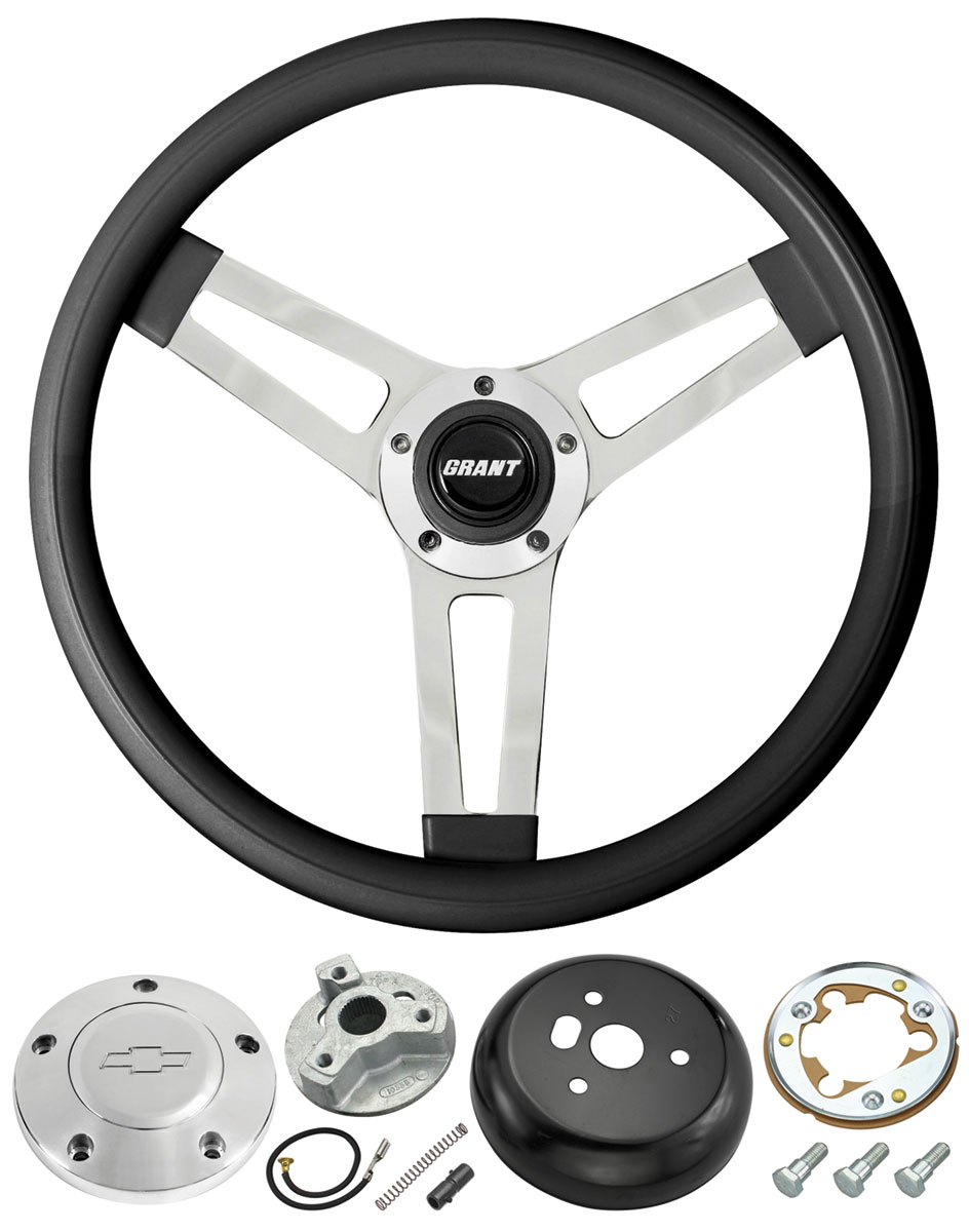 Photo of Steering Wheel, Classic Series - Black Wheel w/polished billet