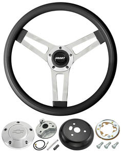 1969-77 Chevelle Steering Wheels, Classic Series Black Wheel w/Polished Billet Cap