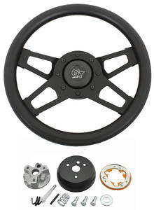 1964-66 Cutlass Steering Wheel Kits, Challenger Series Black Wheel w/o Tilt