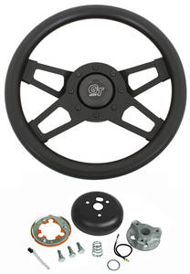 1969-76 Riviera Steering Wheel, Challenger Black Wheel Standard Column