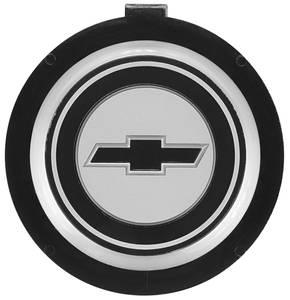 1971-1977 El Camino Steering Wheel Emblem, Four-Spoke Sport Black Bowtie w/Silver Border
