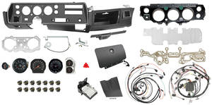 1972-1972 El Camino Dash & Gauge Conversion Kit, Super Sport Floor Shift 6500 RL Tach w/o TH400, Small Block