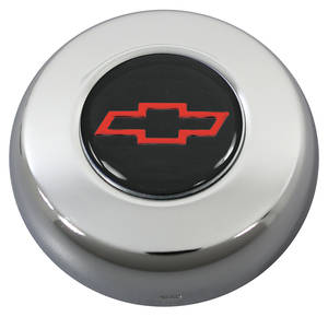 1964-77 Chevelle Horn Button, Classic Series Red Bowtie on Black