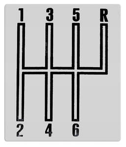 1966-1967 El Camino Console Shifter Indicator Plate, Manual Transmission 6-Spd.