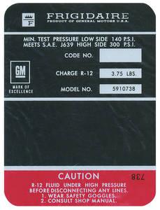 1970-1970 Chevelle Air Conditioning Compressor Decal Black, Big-Block (#5910738)