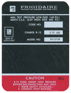 1970 Monte Carlo Air Conditioning Compressor Decal (Black, #5910738) Big-Block