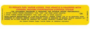 El Camino Radiator Support Decal 454/450 HP (Pre- Jan 1970) (CA, #3980214)