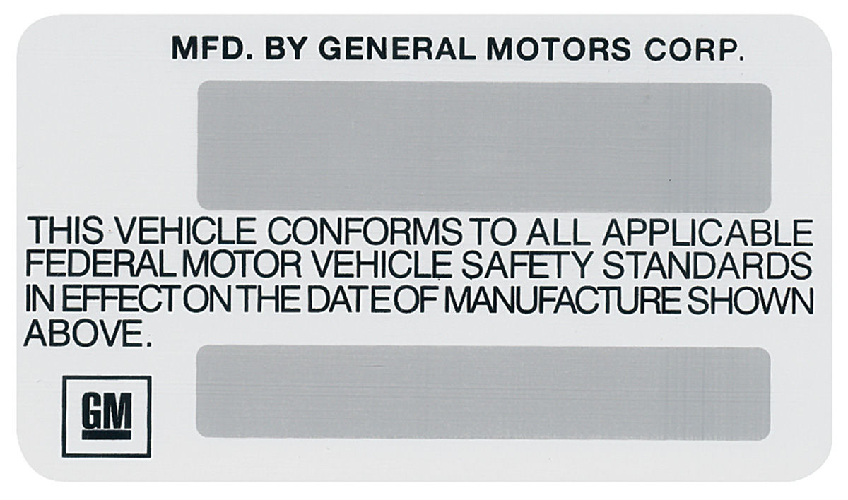 1975 Chevelle Motor Vehicle Safety Standards Decal: motor vehicle safety