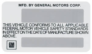 1975 Monte Carlo Motor Vehicle Safety Standards Decal