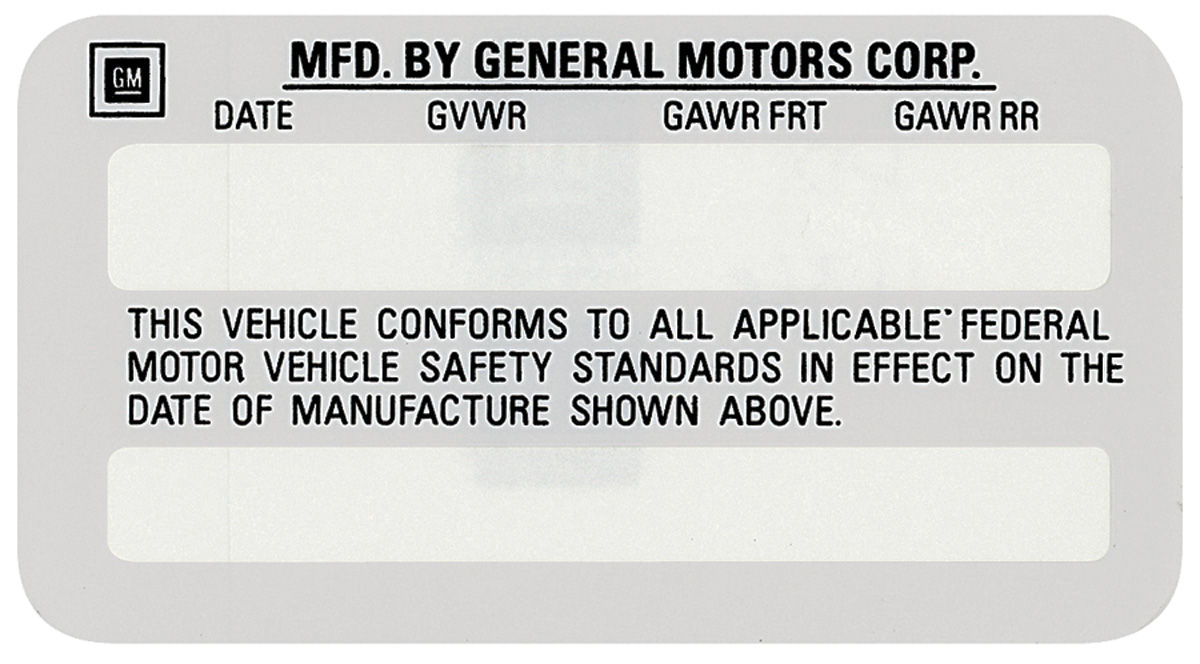 Photo of Motor Vehicle Safety Standards Decal