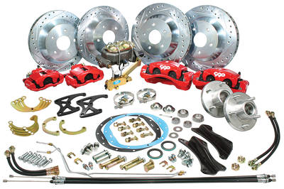 1968-72 El Camino Brake Kits, Front & Rear Big Brake Disc Front/Rear (Red Calipers)