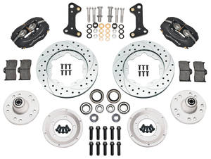 "1964-72 GTO Brake Kits, Forged Dynalite Pro Series 11"" Front Drilled/Slotted/Zinc-Washed Rotors"