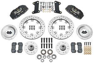 1964-72 Cutlass Brake Kit, DynaPro 6-Piston Front (Big Brake) Drilled/Slotted/Zinc Washed Rotors