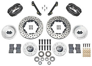 "1973-77 Cutlass Brake Kits, Forged Dynalite Pro Series 11"" Front Drilled/Slotted Rotors"