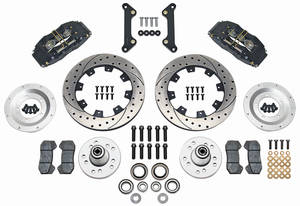 1973-77 Chevelle Brake Kit, DynaPro 6-Piston Front (Big Brake) Drilled/Slotted Rotors