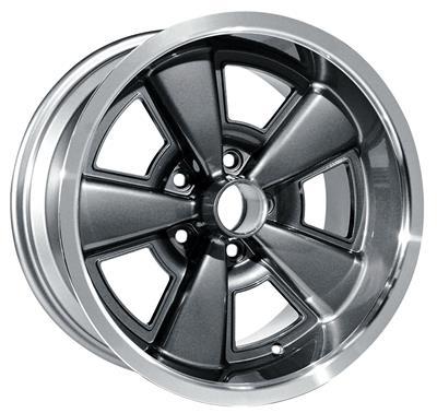 "1971-1972 Monte Carlo Wheel, Five-Spoke Rally (Cast Aluminum) Gunmetal, 17"" X 8"" (B.S. 4.25"")"