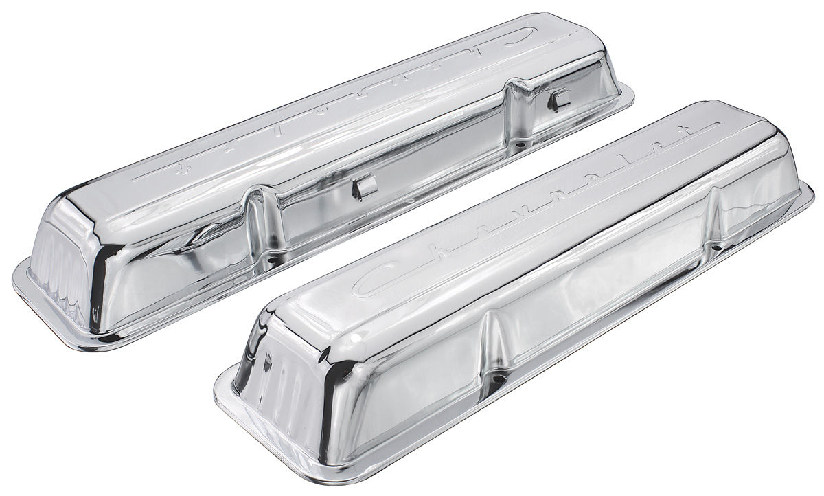 Photo of Valve Covers, 1978-88 Small Block Chevrolet Script Style chrome