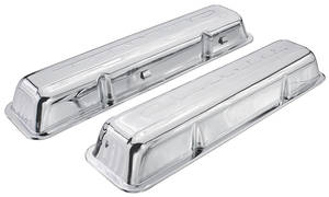 1964-77 Chevelle Valve Covers, Small-Block Chevrolet Script Style Chrome