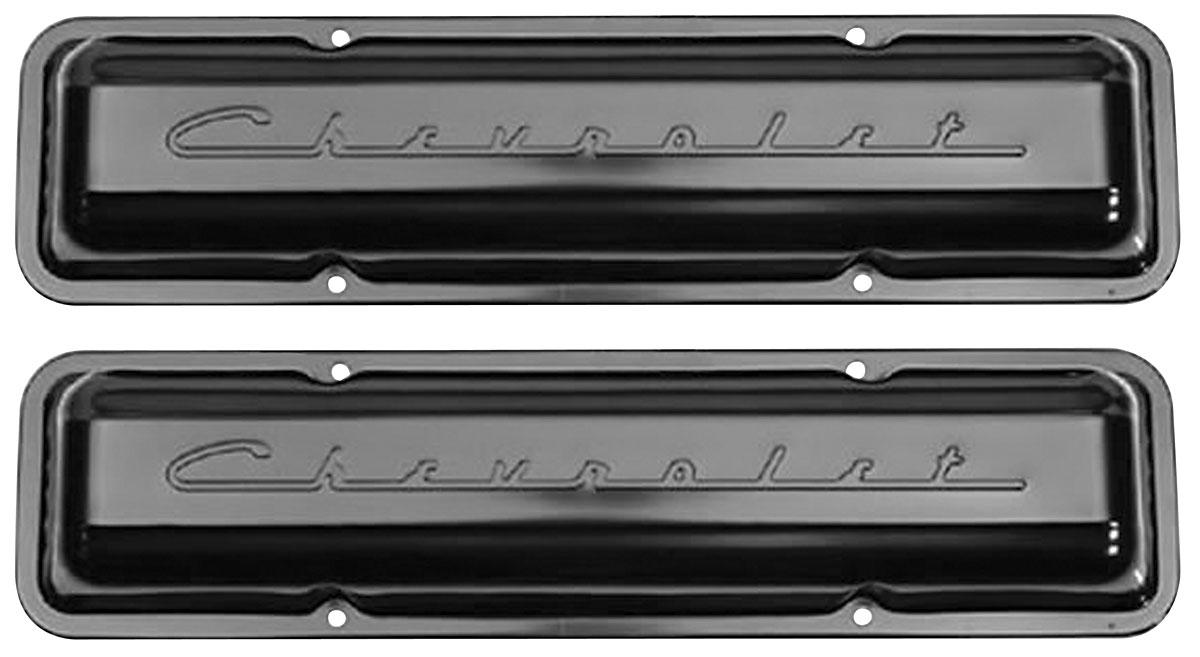 Photo of Valve Covers, Small-Block Chevrolet Script Style black