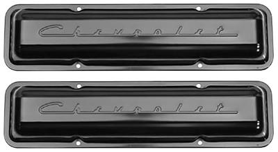 1964-77 Chevelle Valve Covers, Small-Block Chevrolet Script Style Black