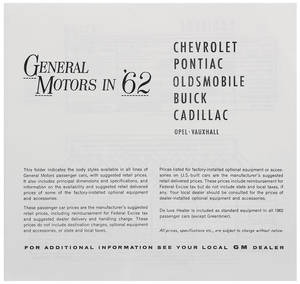 1962 Bonneville Suggested Retail Price Listing, GM Manufacturers