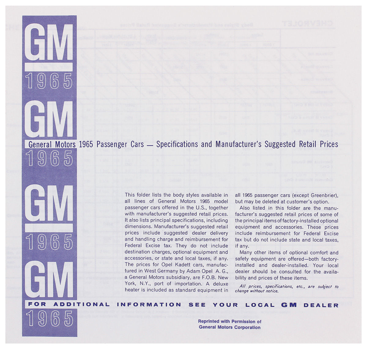 Photo of Suggested Retail Price Listing, GM Manufacturers