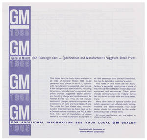 1965 Riviera Suggested Retail Price Listing, GM Manufacturers