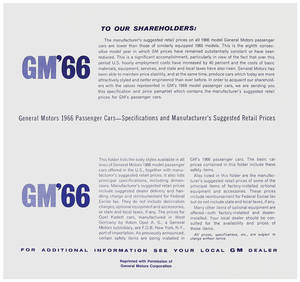 1966 GTO Suggested Retail Price Listing, GM Manufacturers