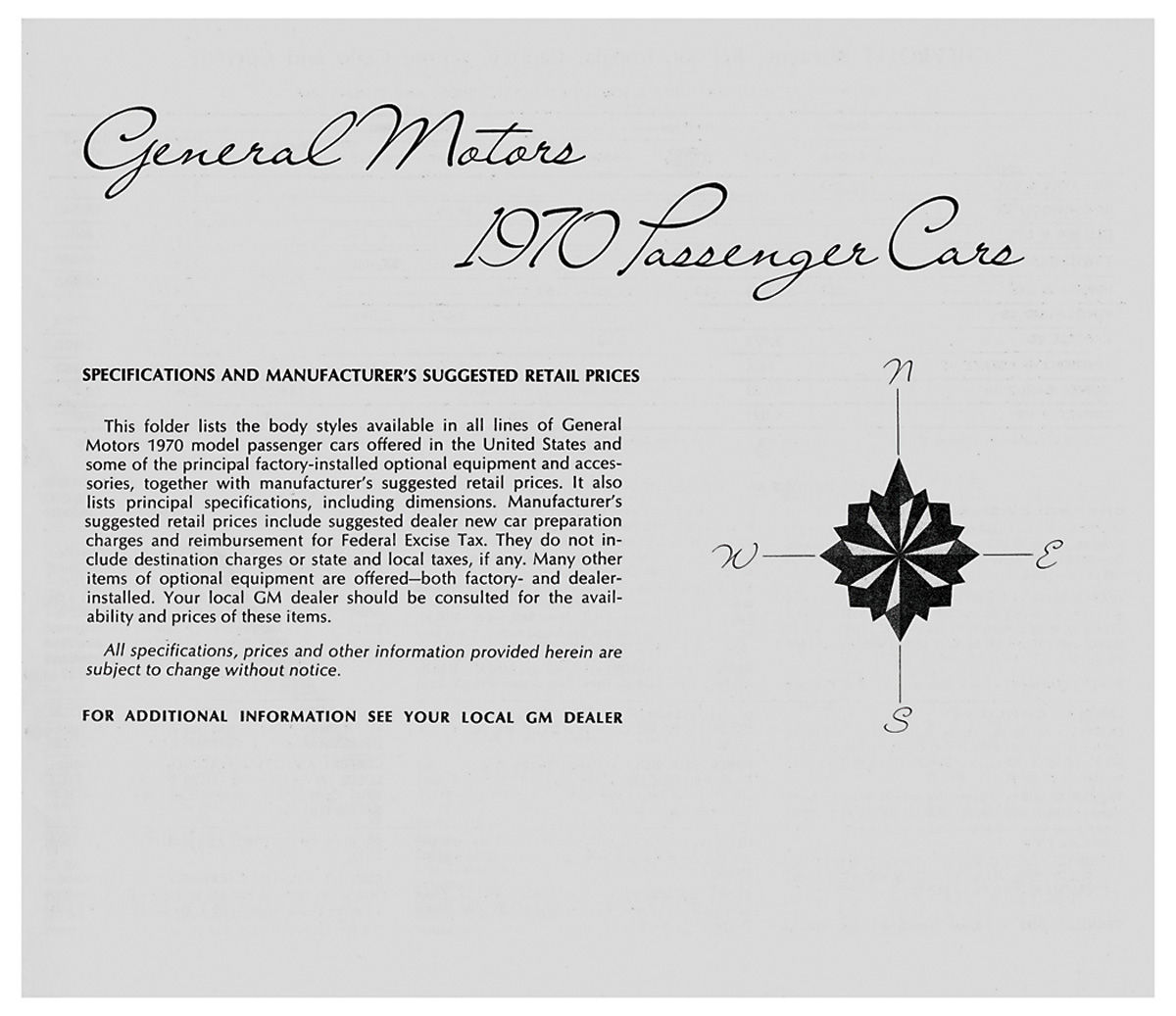 Suggested Retail Price Listing, GM Manufacturers Fits 1970