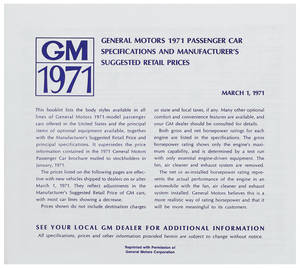 1971 Chevelle Suggested Retail Price Listing, GM Manufacturers