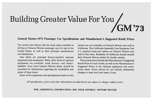 1973 Catalina Suggested Retail Price Listing, GM Manufacturers