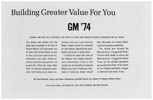 1974 Cutlass Suggested Retail Price Listing, GM Manufacturers
