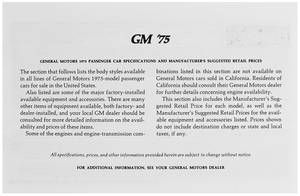 1975 Cutlass Suggested Retail Price Listing, GM Manufacturers