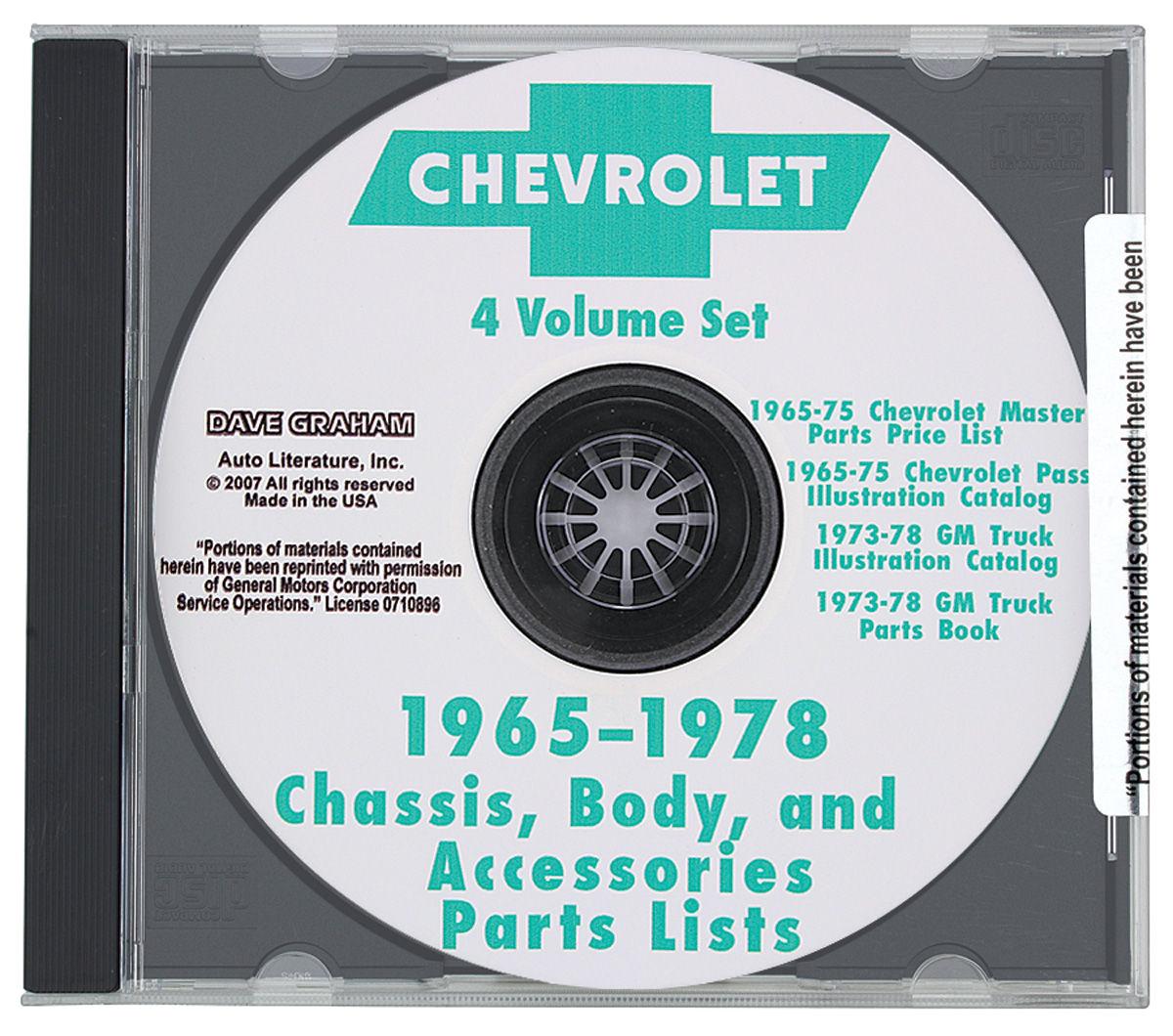 Photo of Chevrolet Parts Catalog CD 1965-78