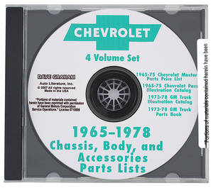Monte Carlo Chevrolet Parts Catalog CD 1965-78