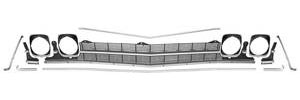 Grille Kit, 1969 Chevelle & El Camino Non-Ss (Deluxe) w/o Center Molding, w/Headlight Bezels