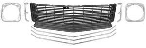 Grille Kit, 1971 Chevelle & El Camino (Deluxe) SS, w/Headlight Bezels, by RESTOPARTS