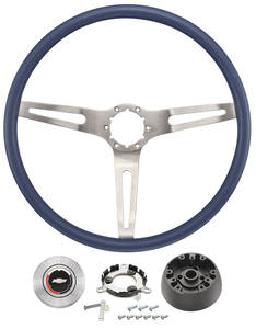 1970-1972 Monte Carlo Steering Wheel Kit, Three-Spoke Specify Blue Or Red Wheel