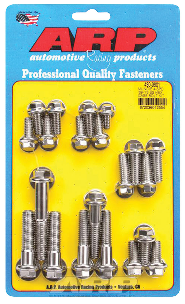 Photo of Chevelle Transmission Case Bolts, Muncie 4-Speed Stainless Steel hex head